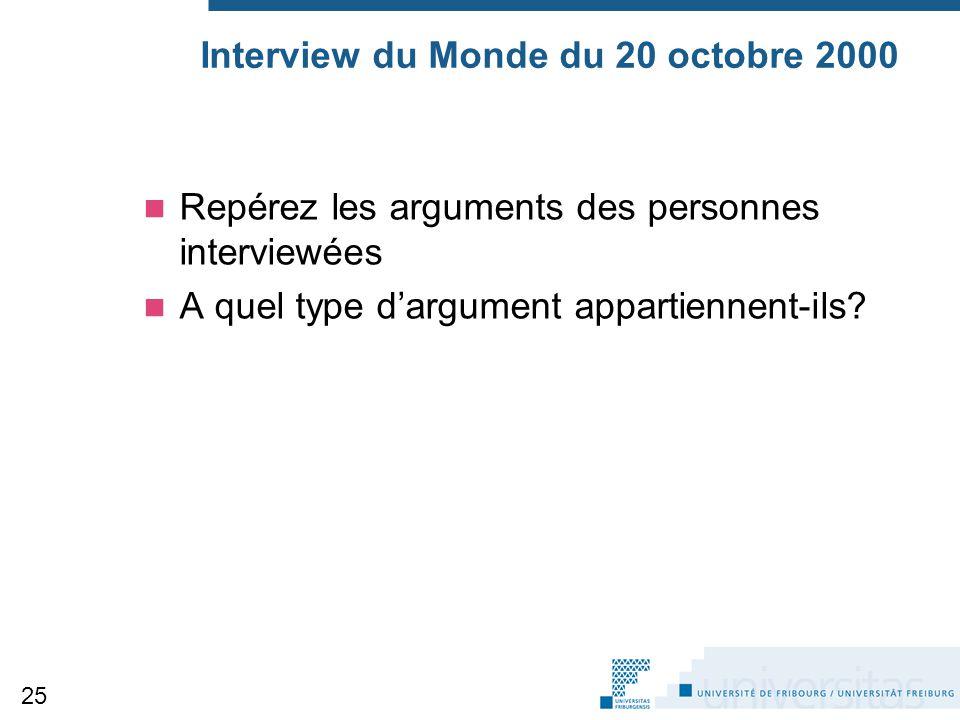 Interview du Monde du 20 octobre 2000 Repérez les arguments des personnes interviewées A quel type d'argument appartiennent-ils? 25