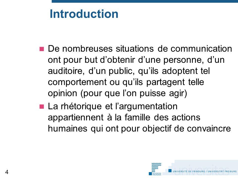 Introduction De nombreuses situations de communication ont pour but d'obtenir d'une personne, d'un auditoire, d'un public, qu'ils adoptent tel comport