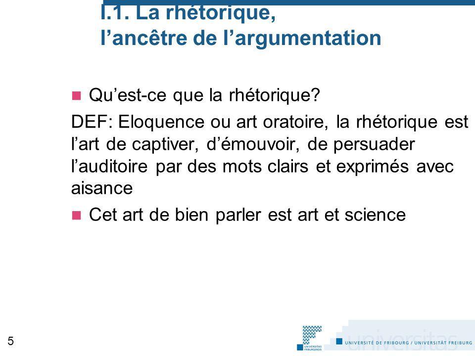 I.1. La rhétorique, l'ancêtre de l'argumentation Qu'est-ce que la rhétorique? DEF: Eloquence ou art oratoire, la rhétorique est l'art de captiver, d'é