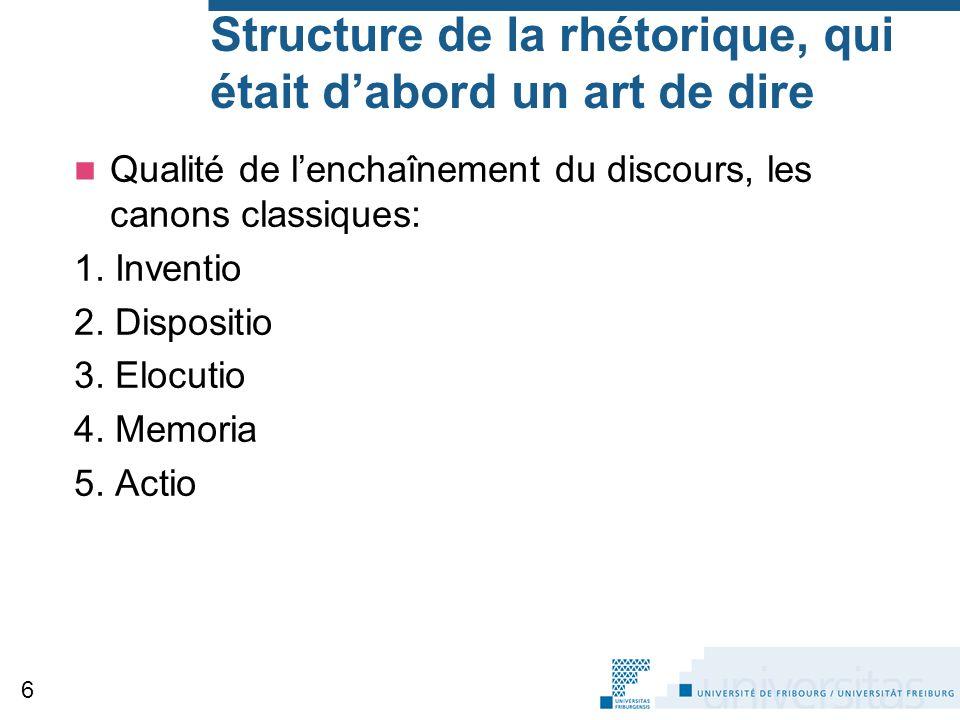 Structure de la rhétorique, qui était d'abord un art de dire Qualité de l'enchaînement du discours, les canons classiques: 1. Inventio 2. Dispositio 3