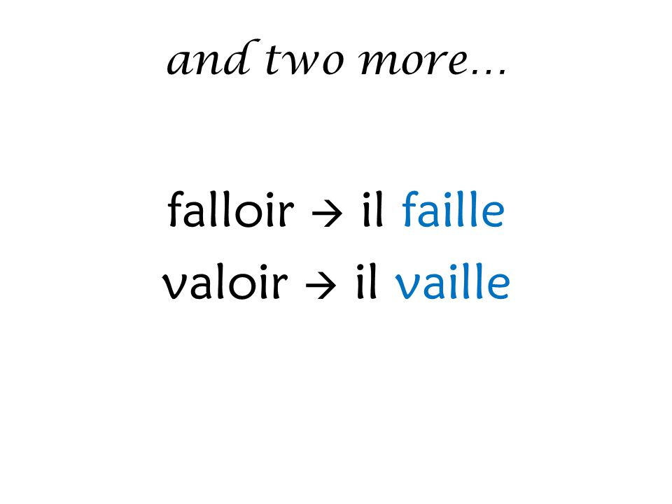and two more… falloir  il faille valoir  il vaille