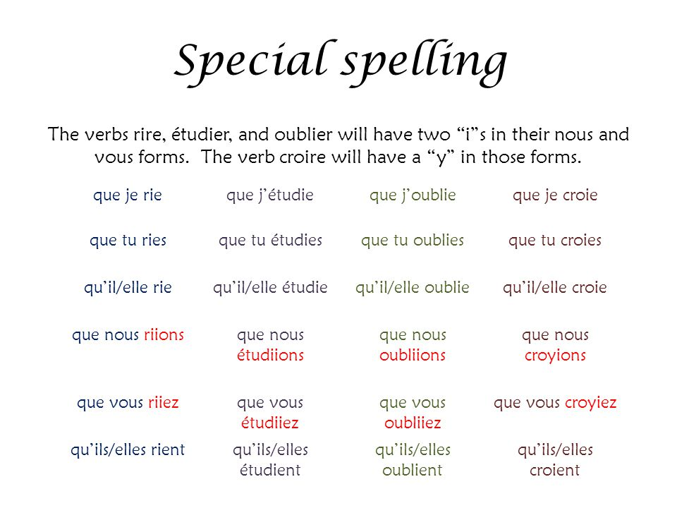 """Special spelling The verbs rire, étudier, and oublier will have two """"i""""s in their nous and vous forms. The verb croire will have a """"y"""" in those forms."""