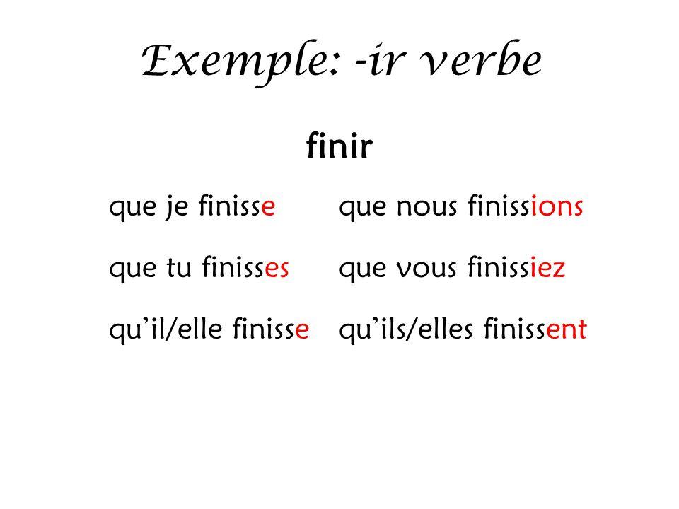 Exemple: -ir verbe finir que je finisse que nous finissions que tu finisses que vous finissiez qu'il/elle finisse qu'ils/elles finissent