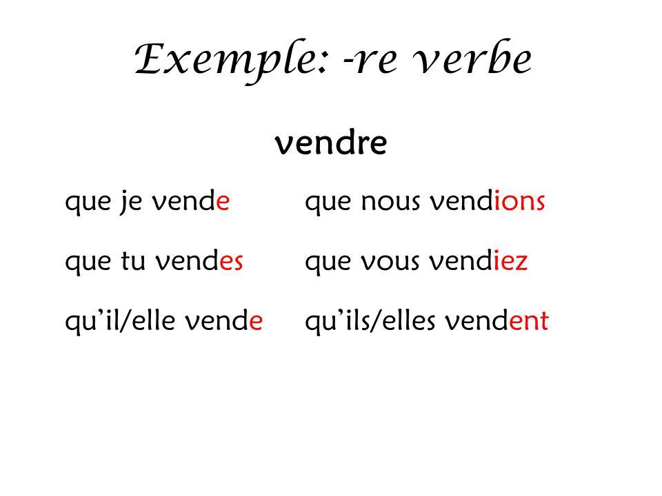 Exemple: -re verbe vendre que je vendeque nous vendions que tu vendesque vous vendiez qu'il/elle vendequ'ils/elles vendent