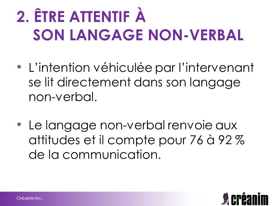 2. ÊTRE ATTENTIF À SON LANGAGE NON-VERBAL L'intention véhiculée par l'intervenant se lit directement dans son langage non-verbal. Le langage non-verba