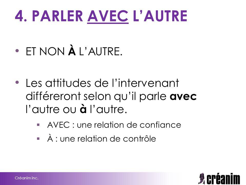 4.PARLER AVEC L'AUTRE ET NON À L'AUTRE.