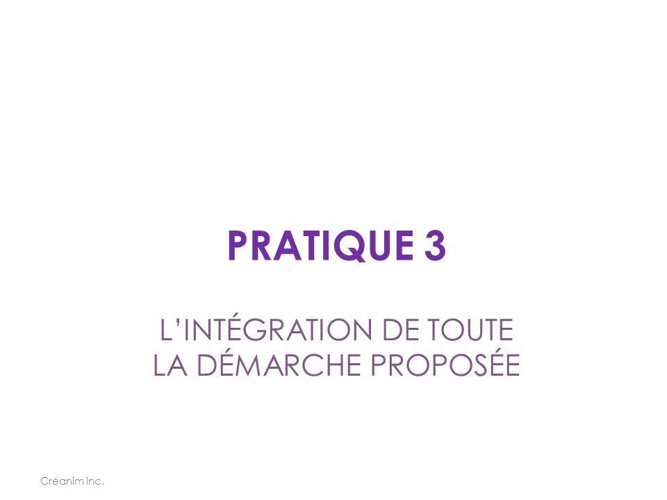 PRATIQUE 3 Créanim inc. L'INTÉGRATION DE TOUTE LA DÉMARCHE PROPOSÉE
