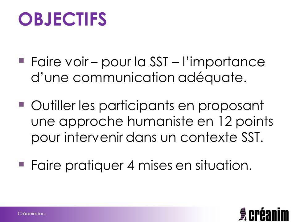 OBJECTIFS  Faire voir – pour la SST – l'importance d'une communication adéquate.  Outiller les participants en proposant une approche humaniste en 1