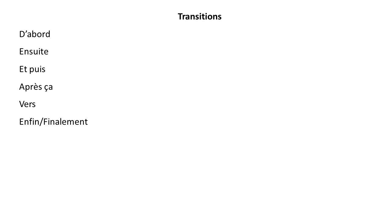 Transitions D'abord Ensuite Et puis Après ça Vers Enfin/Finalement