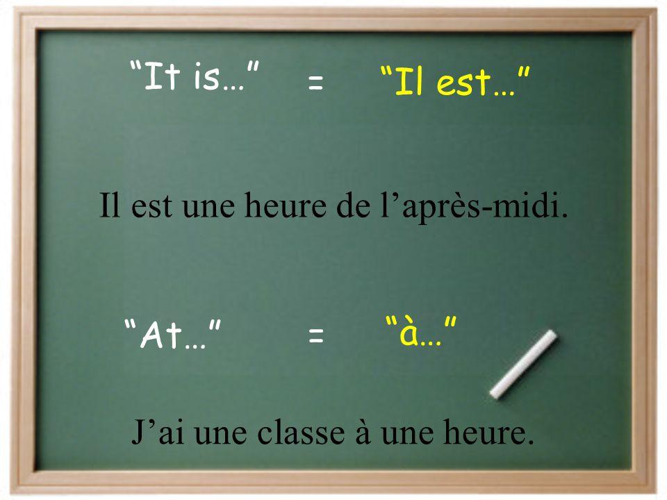 """midnight"" ""minuit""= ""midday / noon"" ""midi""= ""p.m."" ""a.m."" = = ""de l'après-midi / du soir"" ""du matin"""