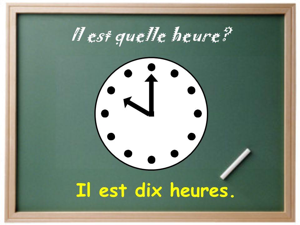 """""""It is…"""" """"Il est…""""= """"At…"""" """"à…"""" = Il est une heure de l'après-midi. J'ai une classe à une heure."""