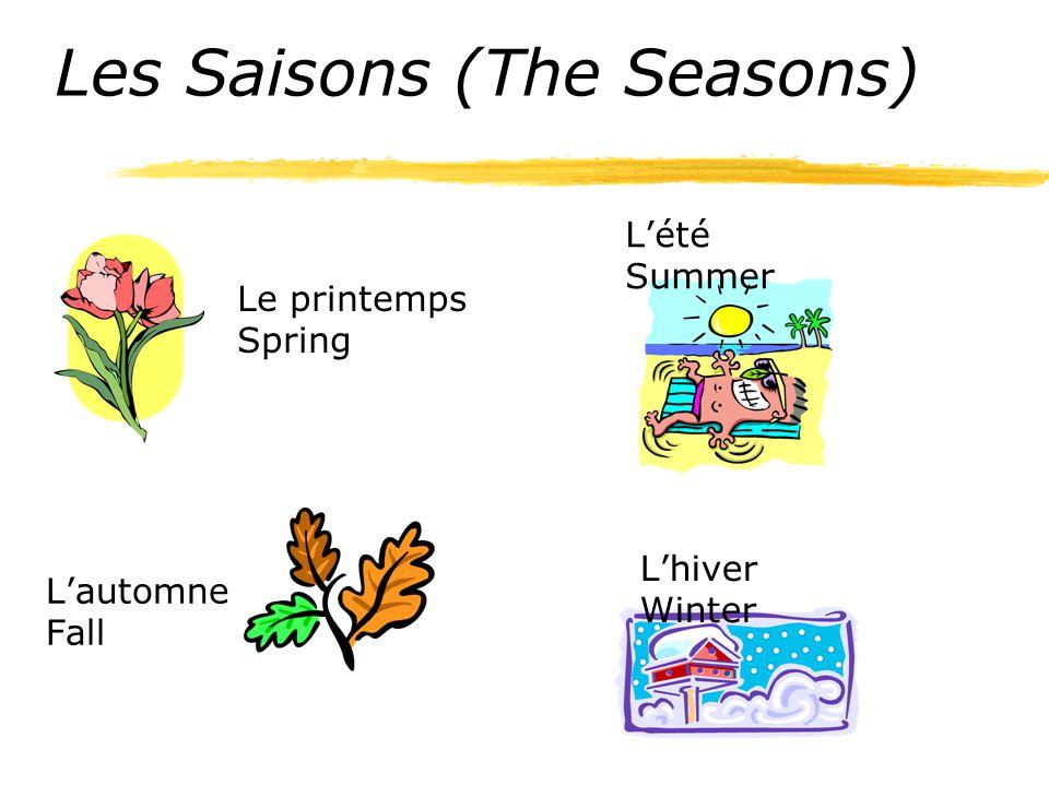 Les Saisons (The Seasons) Le printemps Spring L'été Summer L'automne Fall L'hiver Winter