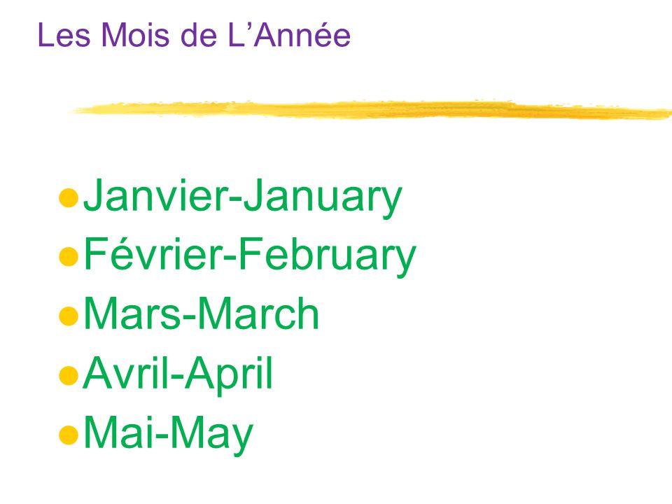 Les Mois de L'Année ●Janvier-January ●Février-February ●Mars-March ●Avril-April ●Mai-May