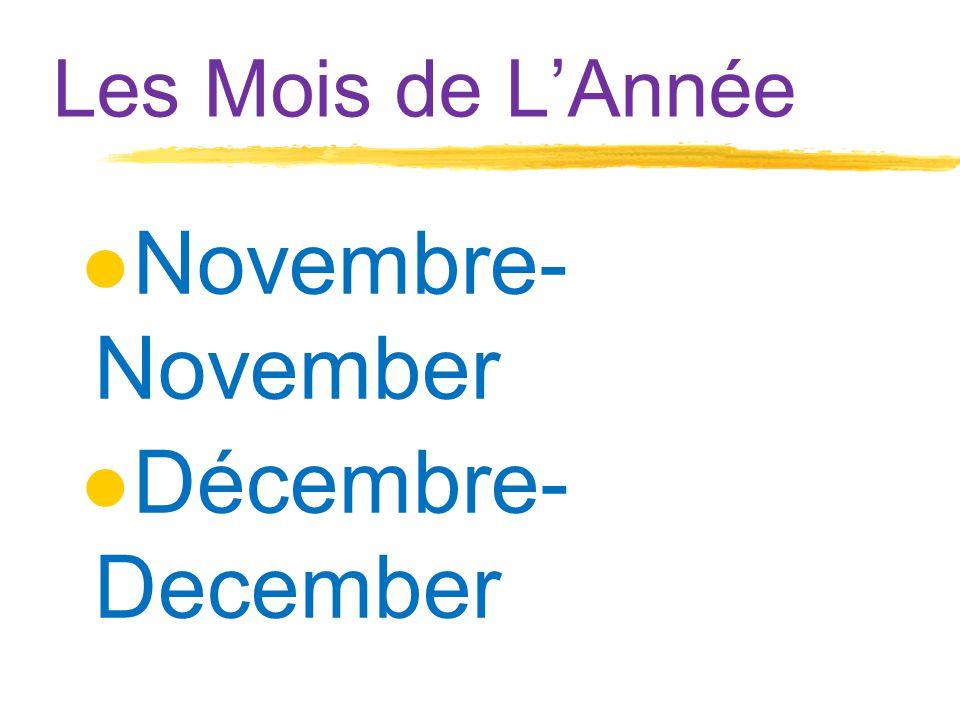 Les Mois de L'Année ●Novembre- November ●Décembre- December