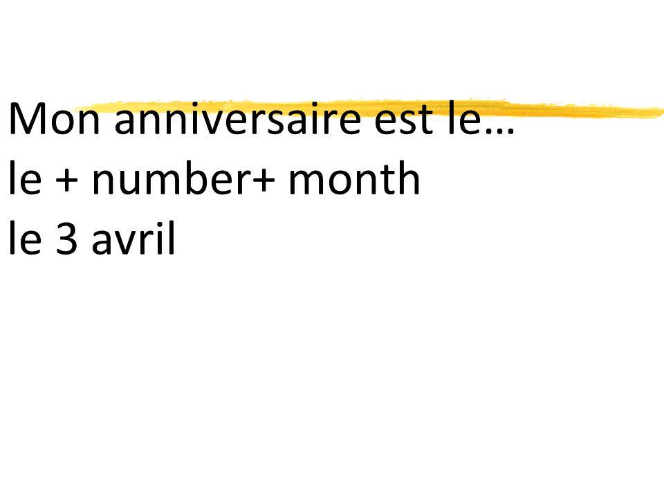 Mon anniversaire est le… le + number+ month le 3 avril