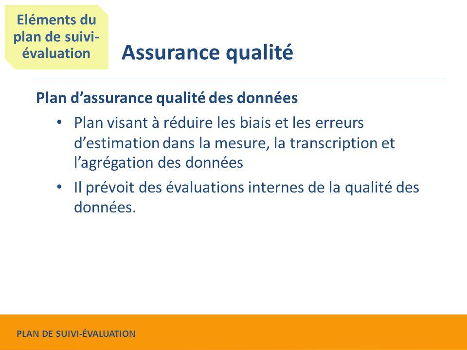Plan d'assurance qualité des données Plan visant à réduire les biais et les erreurs d'estimation dans la mesure, la transcription et l'agrégation des données Il prévoit des évaluations internes de la qualité des données.