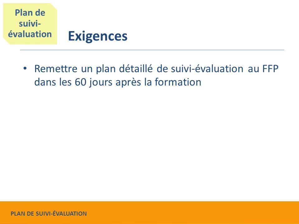 Exigences Remettre un plan détaillé de suivi-évaluation au FFP dans les 60 jours après la formation Plan de suivi- évaluation PLAN DE SUIVI-ÉVALUATION