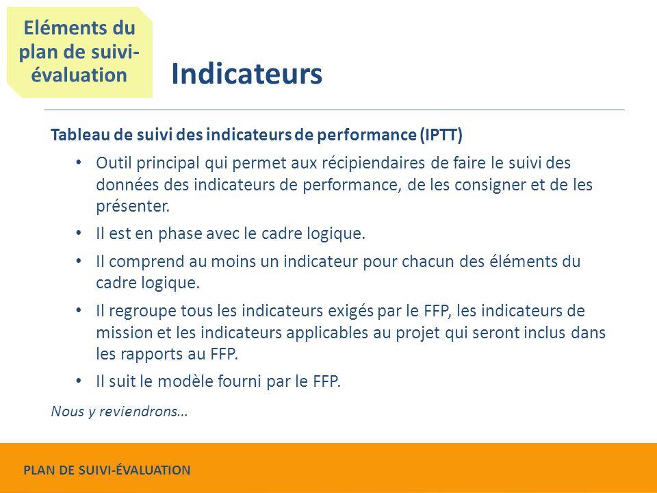 Tableau de suivi des indicateurs de performance (IPTT) Outil principal qui permet aux récipiendaires de faire le suivi des données des indicateurs de performance, de les consigner et de les présenter.