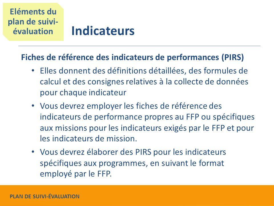 Fiches de référence des indicateurs de performances (PIRS) Elles donnent des définitions détaillées, des formules de calcul et des consignes relatives à la collecte de données pour chaque indicateur Vous devrez employer les fiches de référence des indicateurs de performance propres au FFP ou spécifiques aux missions pour les indicateurs exigés par le FFP et pour les indicateurs de mission.