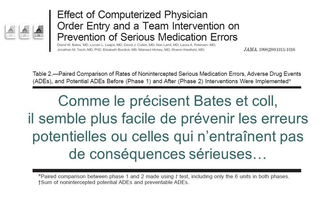 Comme le précisent Bates et coll, il semble plus facile de prévenir les erreurs potentielles ou celles qui n'entraînent pas de conséquences sérieuses…