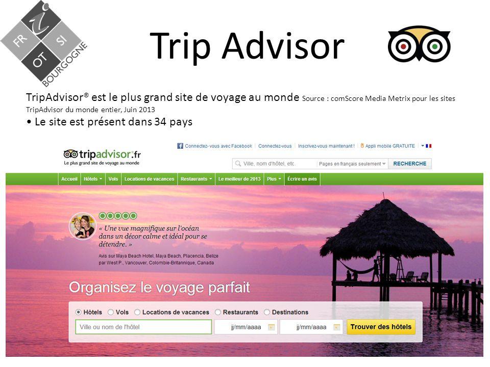 Trip Advisor TripAdvisor® est le plus grand site de voyage au monde Source : comScore Media Metrix pour les sites TripAdvisor du monde entier, Juin 2013 Le site est présent dans 34 pays
