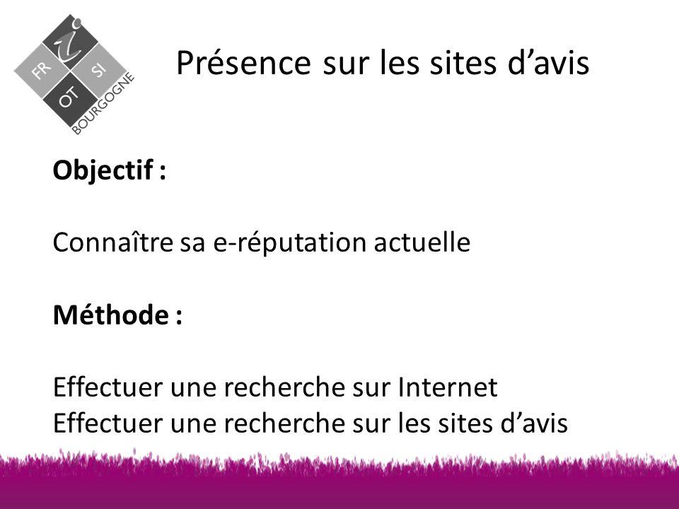 Présence sur les sites d'avis Objectif : Connaître sa e-réputation actuelle Méthode : Effectuer une recherche sur Internet Effectuer une recherche sur les sites d'avis