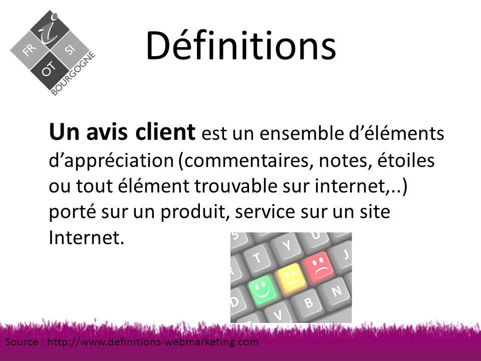 Définitions Un avis client est un ensemble d'éléments d'appréciation (commentaires, notes, étoiles ou tout élément trouvable sur internet,..) porté sur un produit, service sur un site Internet.