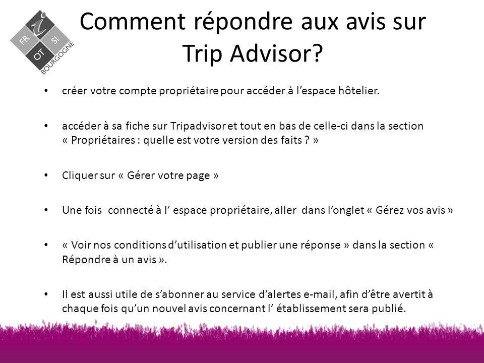 Comment répondre aux avis sur Trip Advisor.