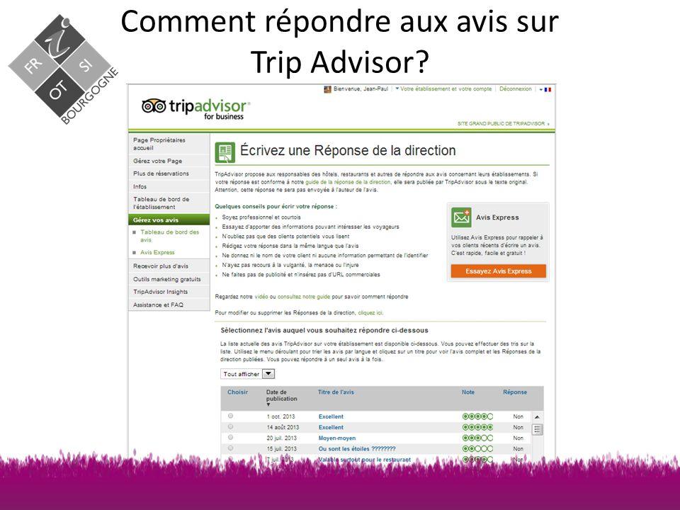 Comment répondre aux avis sur Trip Advisor