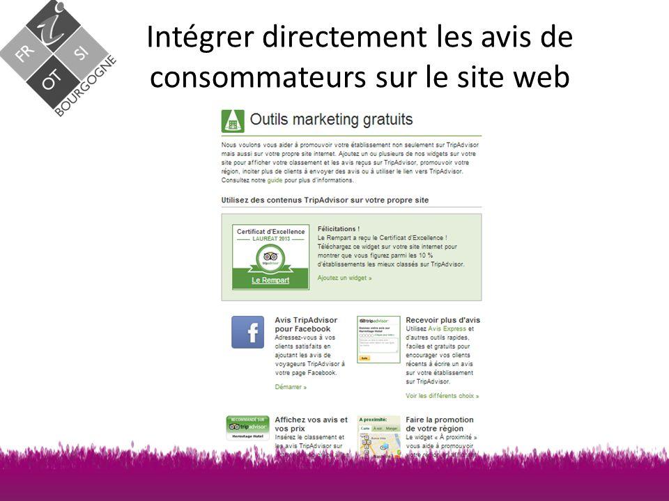 Intégrer directement les avis de consommateurs sur le site web