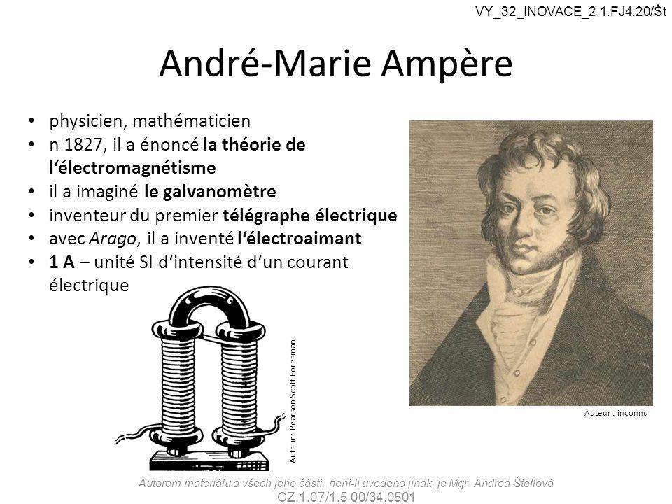 André-Marie Ampère Auteur : inconnu physicien, mathématicien n 1827, il a énoncé la théorie de l'électromagnétisme il a imaginé le galvanomètre invent