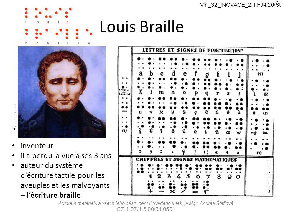 Louis Braille inventeur il a perdu la vue à ses 3 ans auteur du système d'écriture tactile pour les aveugles et les malvoyants – l'écriture braille Au