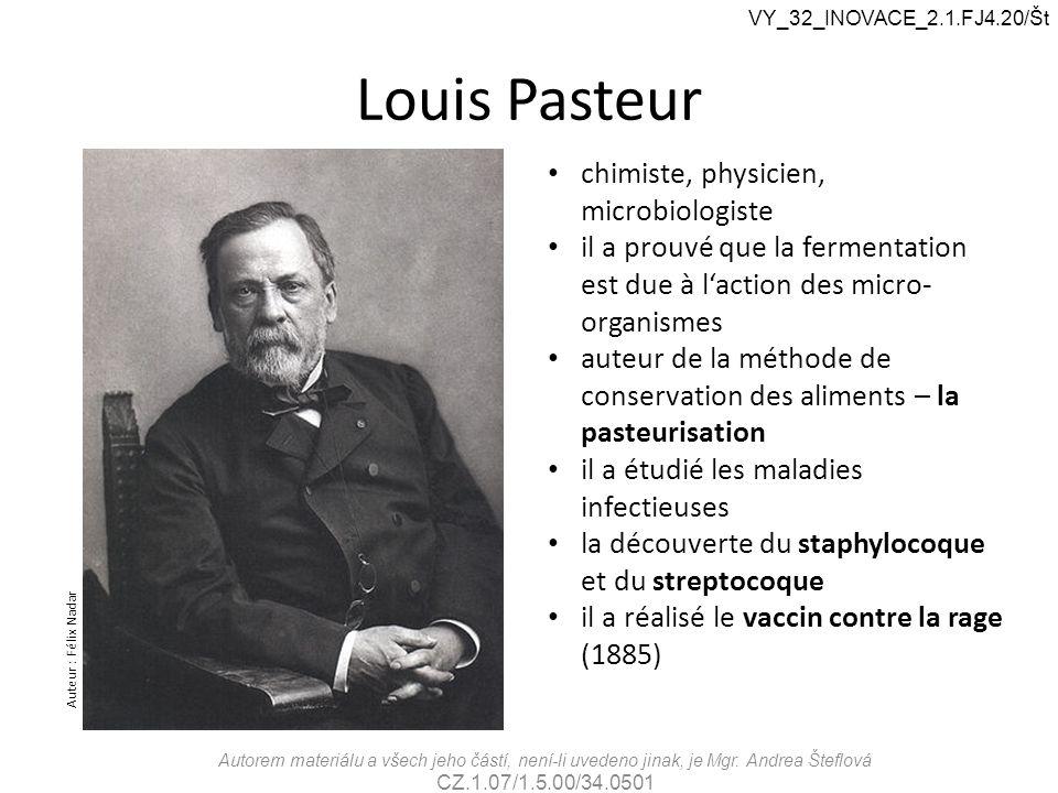 Louis Pasteur chimiste, physicien, microbiologiste il a prouvé que la fermentation est due à l'action des micro- organismes auteur de la méthode de co