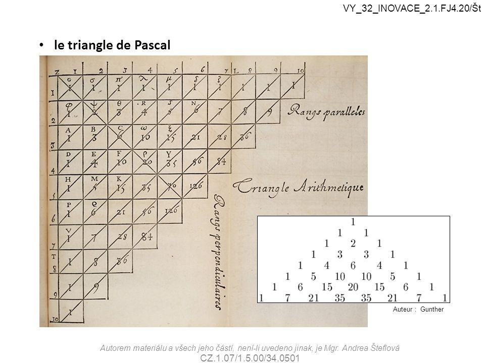 le triangle de Pascal Auteur : Gunther VY_32_INOVACE_2.1.FJ4.20/Št Autorem materiálu a všech jeho částí, není-li uvedeno jinak, je Mgr. Andrea Šteflov