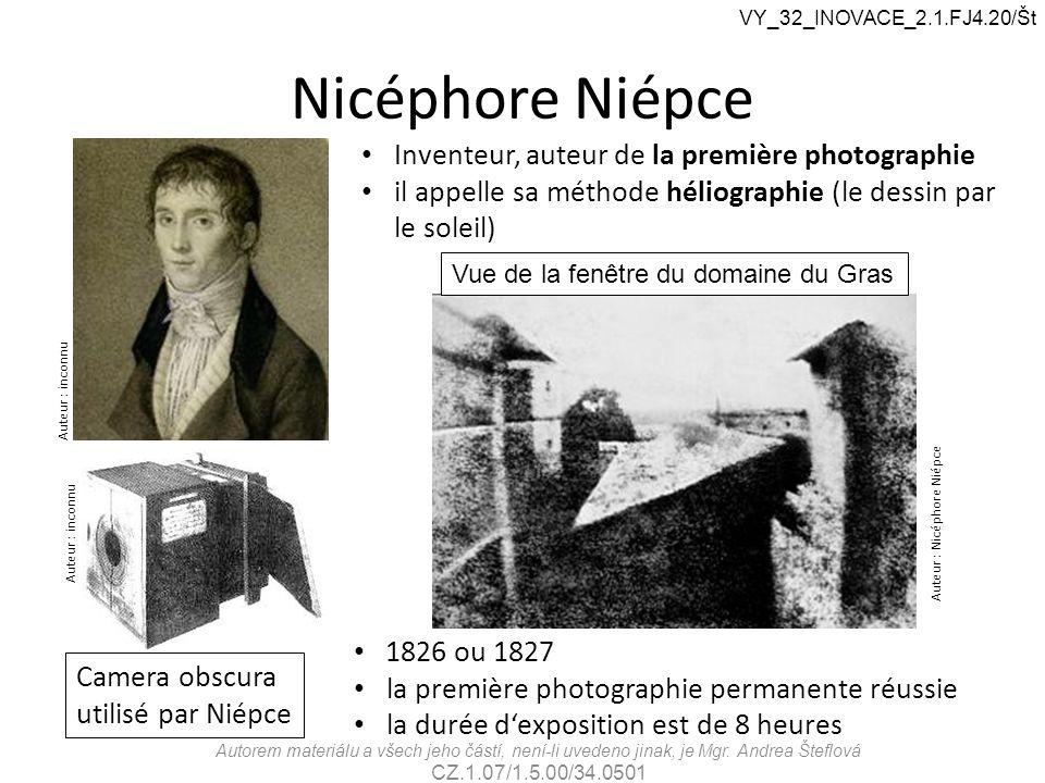 Nicéphore Niépce Auteur : inconnu Camera obscura utilisé par Niépce Inventeur, auteur de la première photographie il appelle sa méthode héliographie (