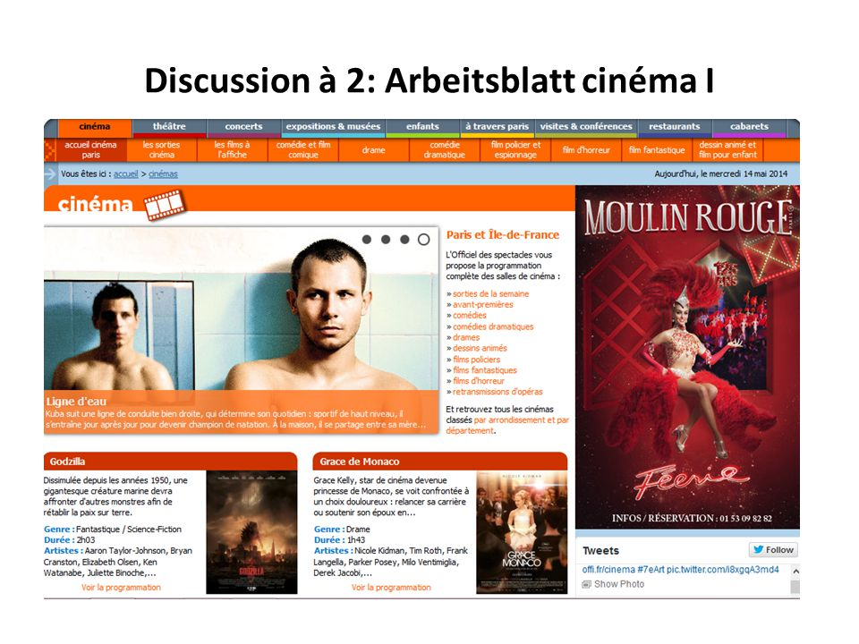 Discussion à 2: Arbeitsblatt cinéma I