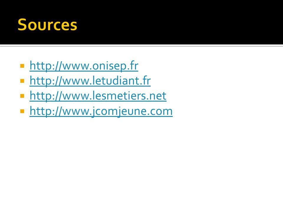  http://www.onisep.fr http://www.onisep.fr  http://www.letudiant.fr http://www.letudiant.fr  http://www.lesmetiers.net http://www.lesmetiers.net 