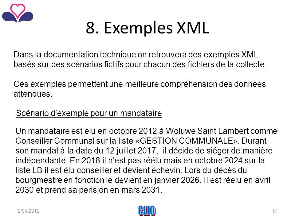 8. Exemples XML Dans la documentation technique on retrouvera des exemples XML basés sur des scénarios fictifs pour chacun des fichiers de la collecte