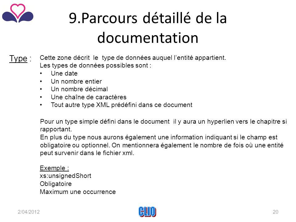 9.Parcours détaillé de la documentation Type : Cette zone décrit le type de données auquel l'entité appartient.