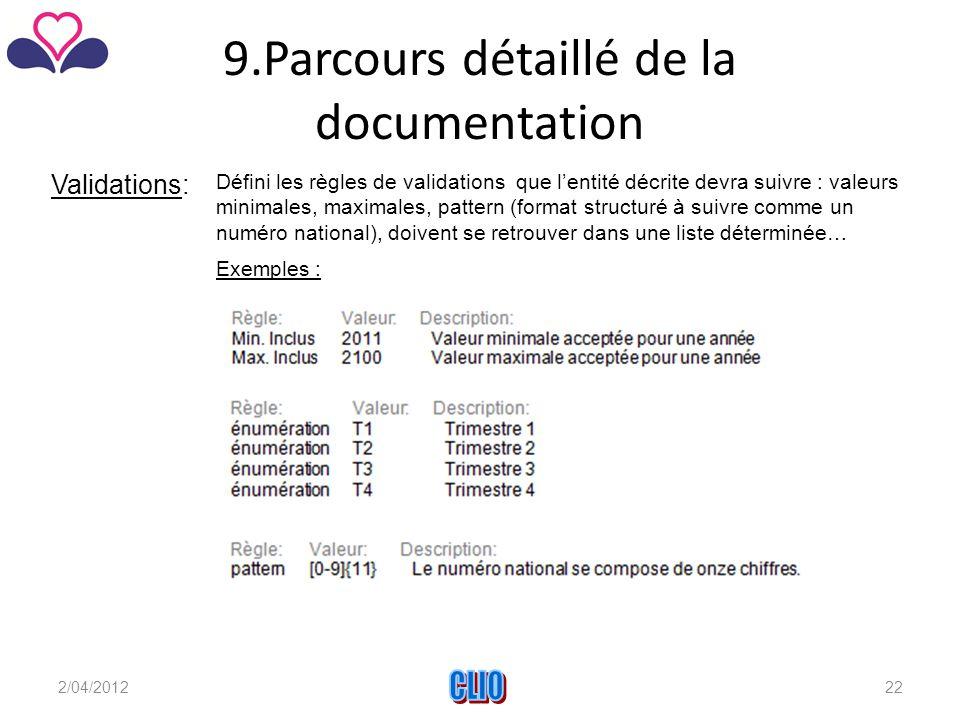 9.Parcours détaillé de la documentation Validations: Défini les règles de validations que l'entité décrite devra suivre : valeurs minimales, maximales, pattern (format structuré à suivre comme un numéro national), doivent se retrouver dans une liste déterminée… Exemples : 2/04/2012CLIO22