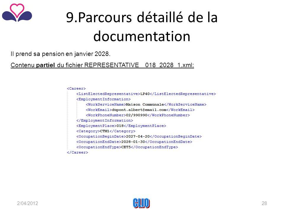 9.Parcours détaillé de la documentation Il prend sa pension en janvier 2028.
