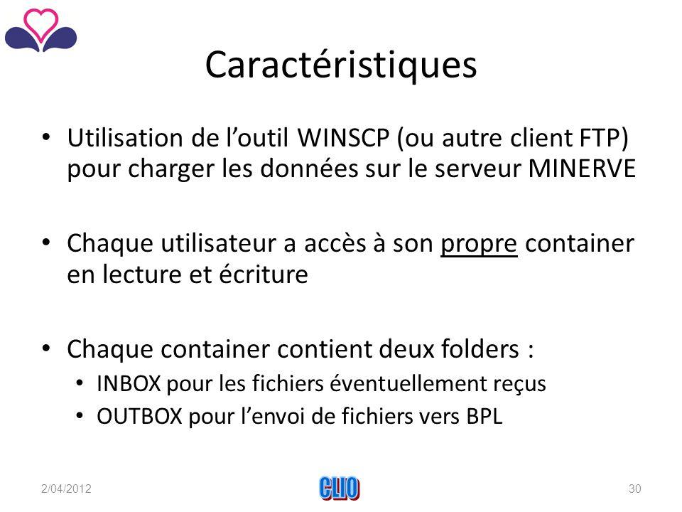 Caractéristiques Utilisation de l'outil WINSCP (ou autre client FTP) pour charger les données sur le serveur MINERVE Chaque utilisateur a accès à son propre container en lecture et écriture Chaque container contient deux folders : INBOX pour les fichiers éventuellement reçus OUTBOX pour l'envoi de fichiers vers BPL 2/04/2012CLIO30