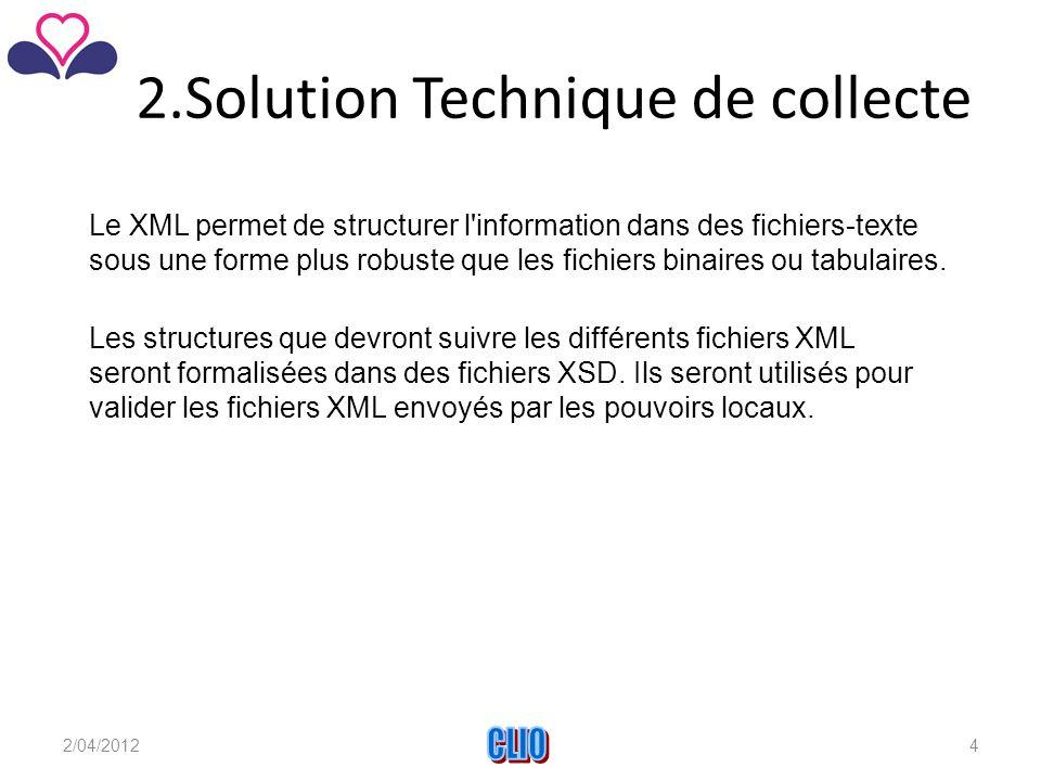 2.Solution Technique de collecte Le XML permet de structurer l information dans des fichiers-texte sous une forme plus robuste que les fichiers binaires ou tabulaires.
