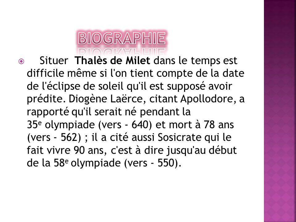  Situer Thalès de Milet dans le temps est difficile même si l'on tient compte de la date de l'éclipse de soleil qu'il est supposé avoir prédite. Diog