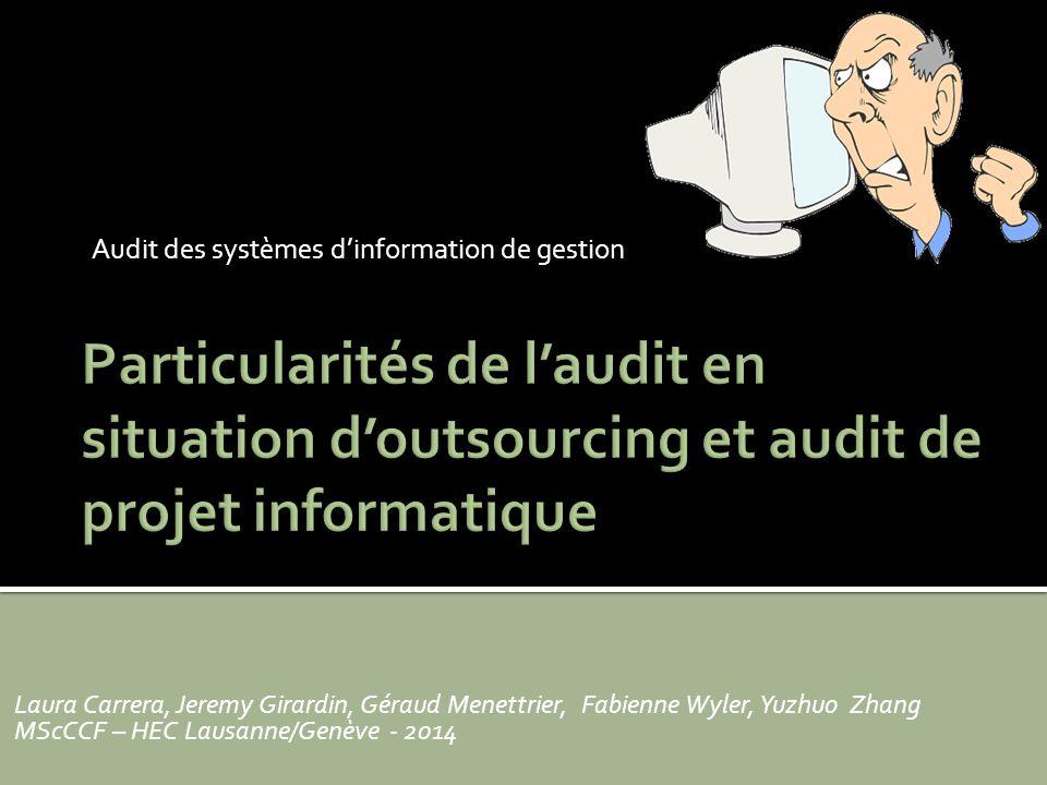 Audit des systèmes d'information de gestion Laura Carrera, Jeremy Girardin, Géraud Menettrier, Fabienne Wyler, Yuzhuo Zhang MScCCF – HEC Lausanne/Genève - 2014