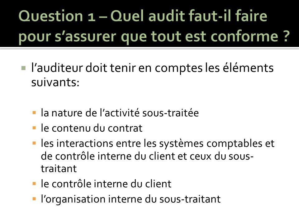  l'auditeur doit tenir en comptes les éléments suivants:  la nature de l'activité sous-traitée  le contenu du contrat  les interactions entre les systèmes comptables et de contrôle interne du client et ceux du sous- traitant  le contrôle interne du client  l'organisation interne du sous-traitant