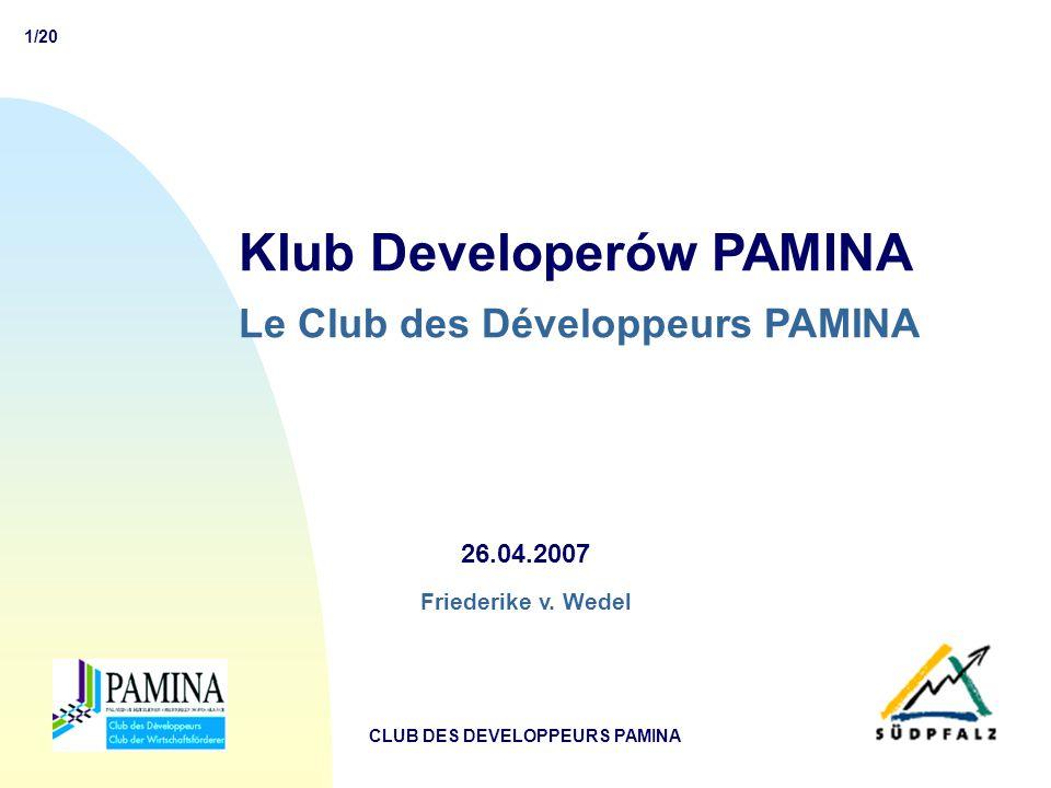 1/20 CLUB DES DEVELOPPEURS PAMINA Klub Developerów PAMINA Le Club des Développeurs PAMINA 26.04.2007 Friederike v.