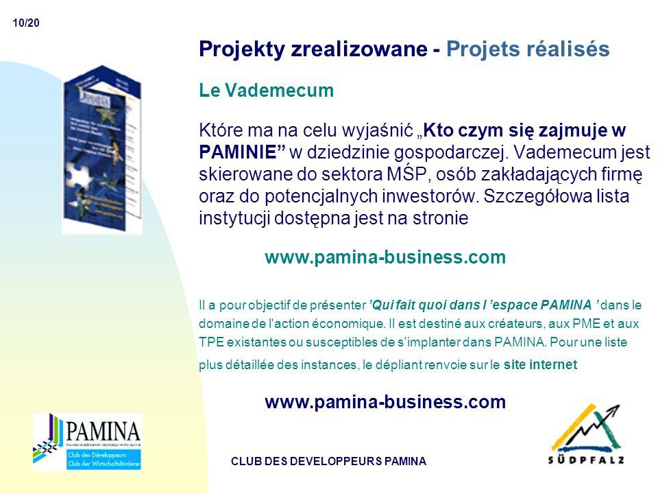 """10/20 CLUB DES DEVELOPPEURS PAMINA Projekty zrealizowane - Projets réalisés Le Vademecum Które ma na celu wyjaśnić """"Kto czym się zajmuje w PAMINIE w dziedzinie gospodarczej."""