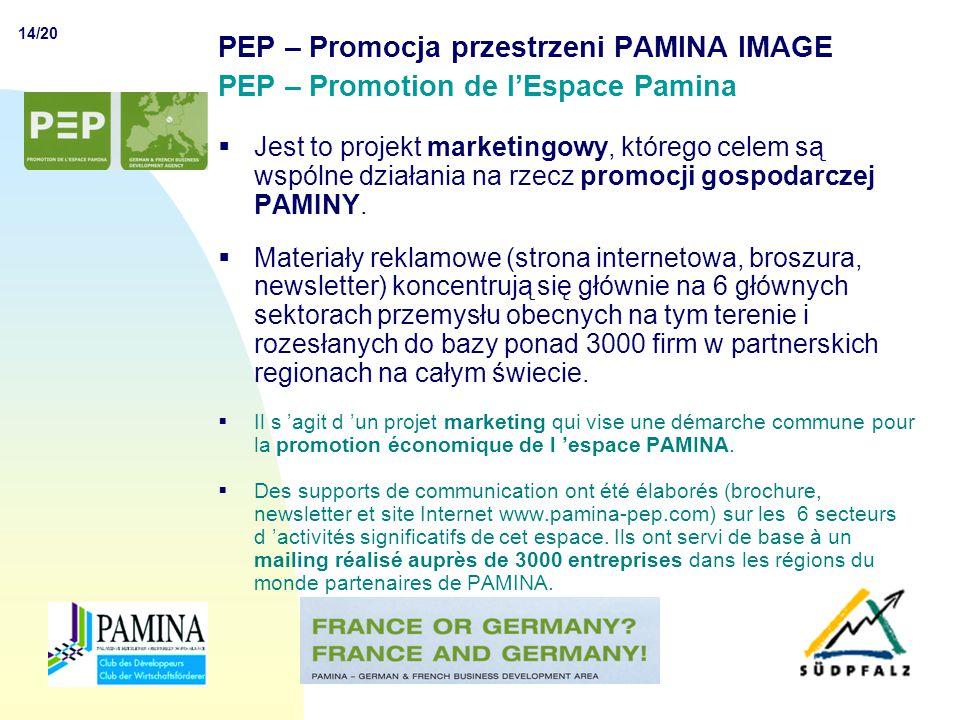 14/20 CLUB DES DEVELOPPEURS PAMINA PEP – Promocja przestrzeni PAMINA IMAGE PEP – Promotion de l'Espace Pamina  Jest to projekt marketingowy, którego celem są wspólne działania na rzecz promocji gospodarczej PAMINY.