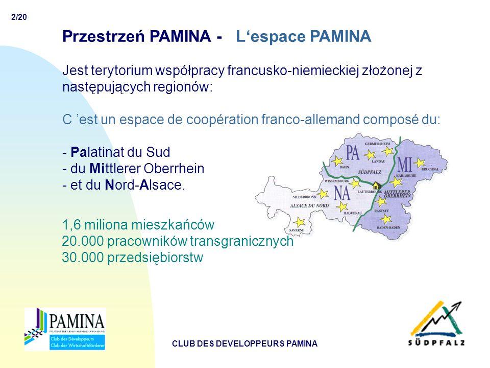 2/20 CLUB DES DEVELOPPEURS PAMINA Przestrzeń PAMINA - L'espace PAMINA Jest terytorium współpracy francusko-niemieckiej złożonej z następujących regionów: C 'est un espace de coopération franco-allemand composé du: - Palatinat du Sud - du Mittlerer Oberrhein - et du Nord-Alsace.